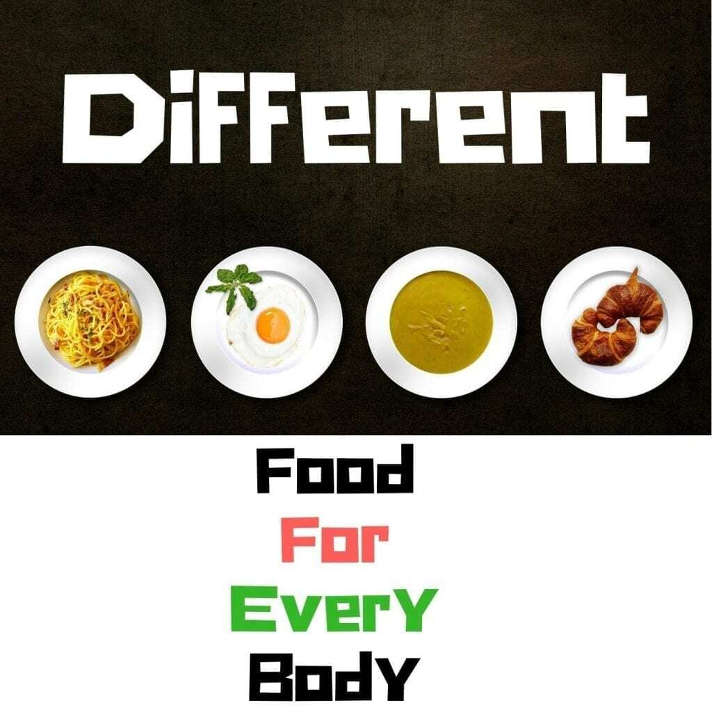 Is there any one size fits all approach? Picture showing quote saying different food for every body