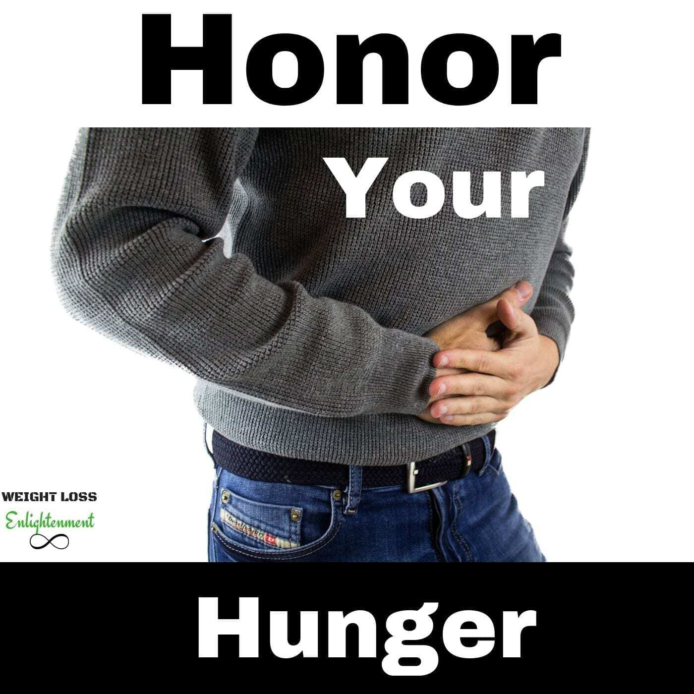 to cure food anxiety you must honor your hunger picture of man holding his belly in agony