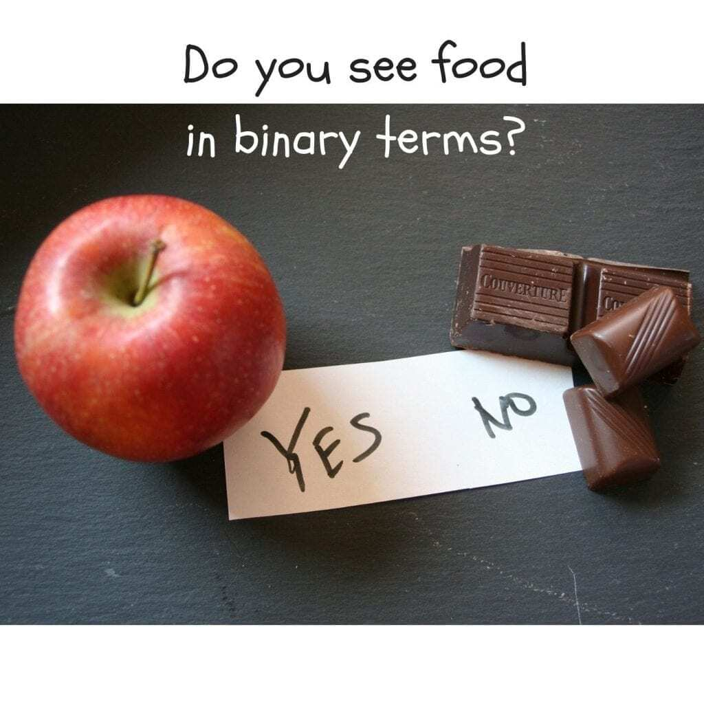 compulsive eating disorder picture with quote asking do you see foods in binary terms yes or no