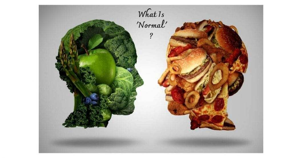 eat like a normal person with pictures of two heads made of different food groups