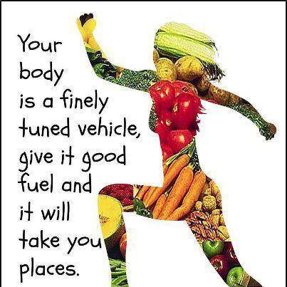 woman outline with fruit in the picture as her body with quote saying 'your body is a finely tuned vehicle, give it good fuel and it will take you places'