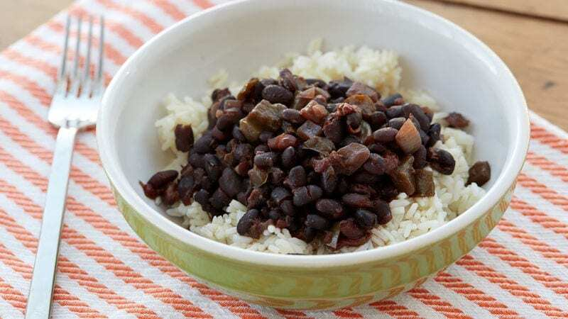 white rice and beans meal for a healthy snack recipe