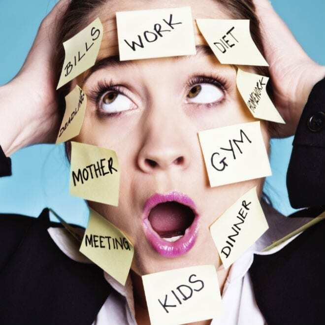 picture of stressed out woman with sticky notes on her face to show bad work life balance