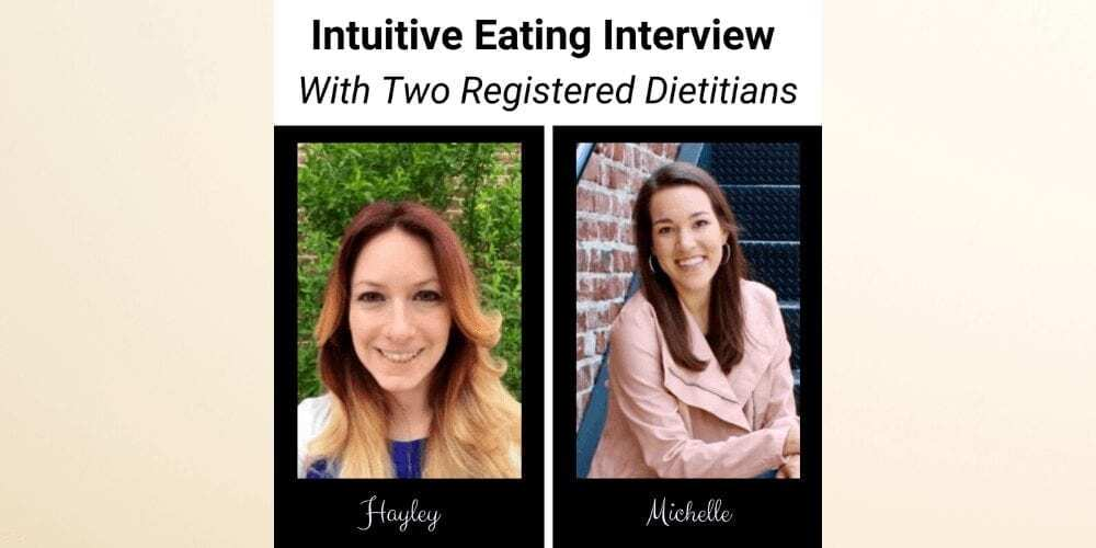 intuitive eating definition cover image with two registered dietitians