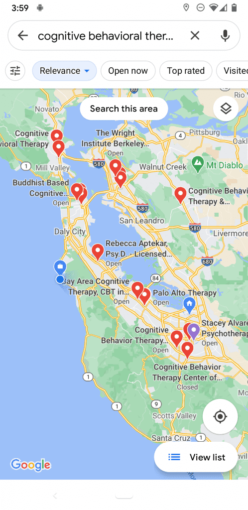 google maps cognitive behavioral therapy near me in bay area